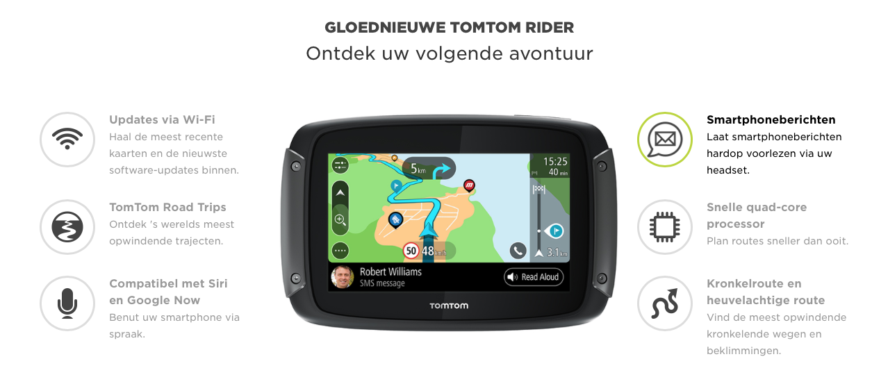 tomtom rider 550 premium pack nieuw model motodeluxe. Black Bedroom Furniture Sets. Home Design Ideas